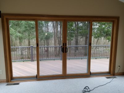 new wood pella glass door installation